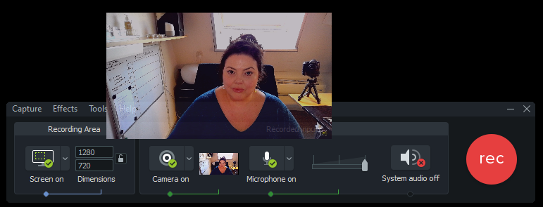 Camtasia 2020 recorder met webcam